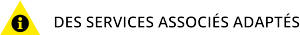 Triangle jaune PAP et texte des services associés PAP