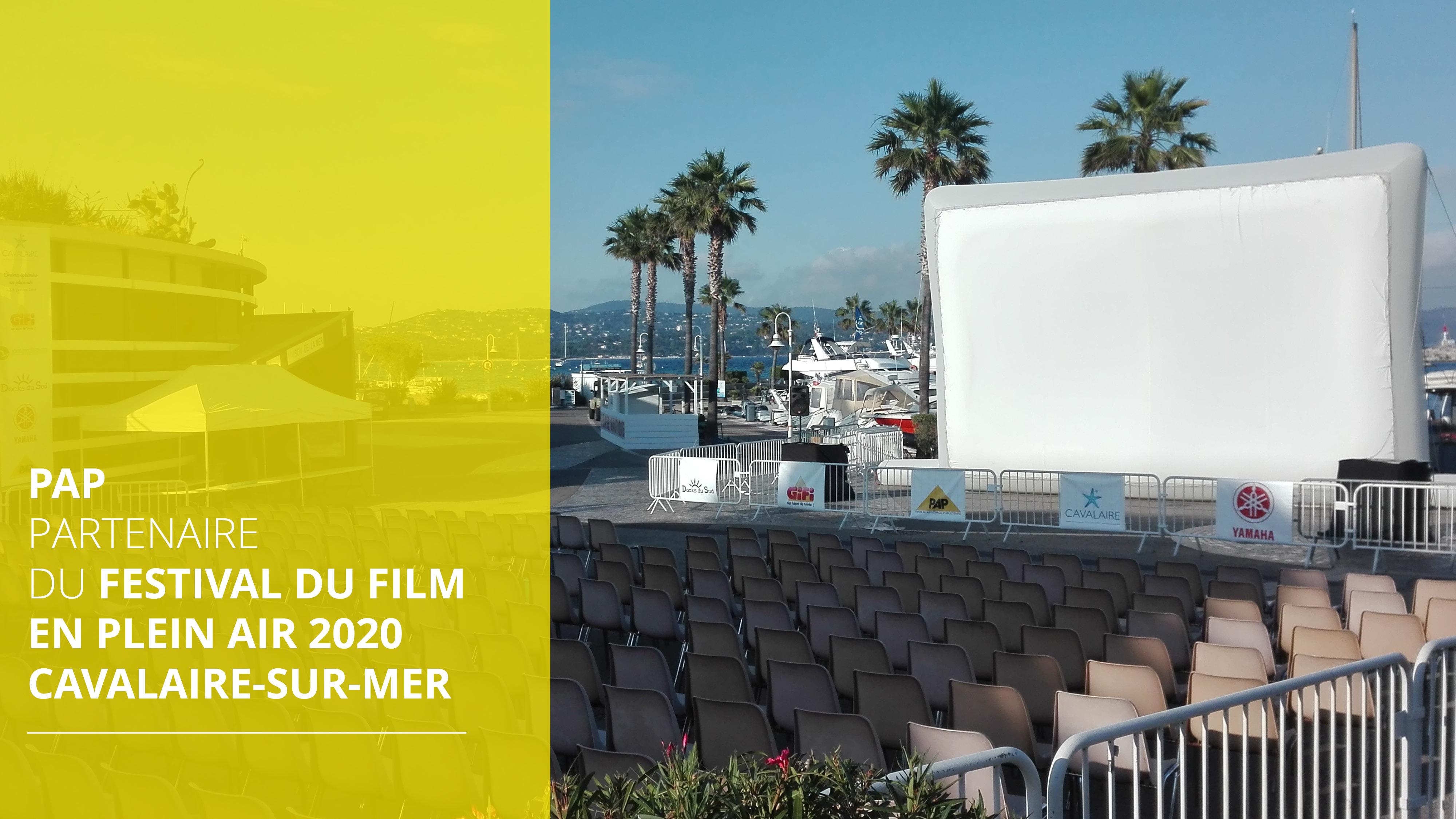 Écran géant gonflable festival du film en plein air Cavalaire PAP