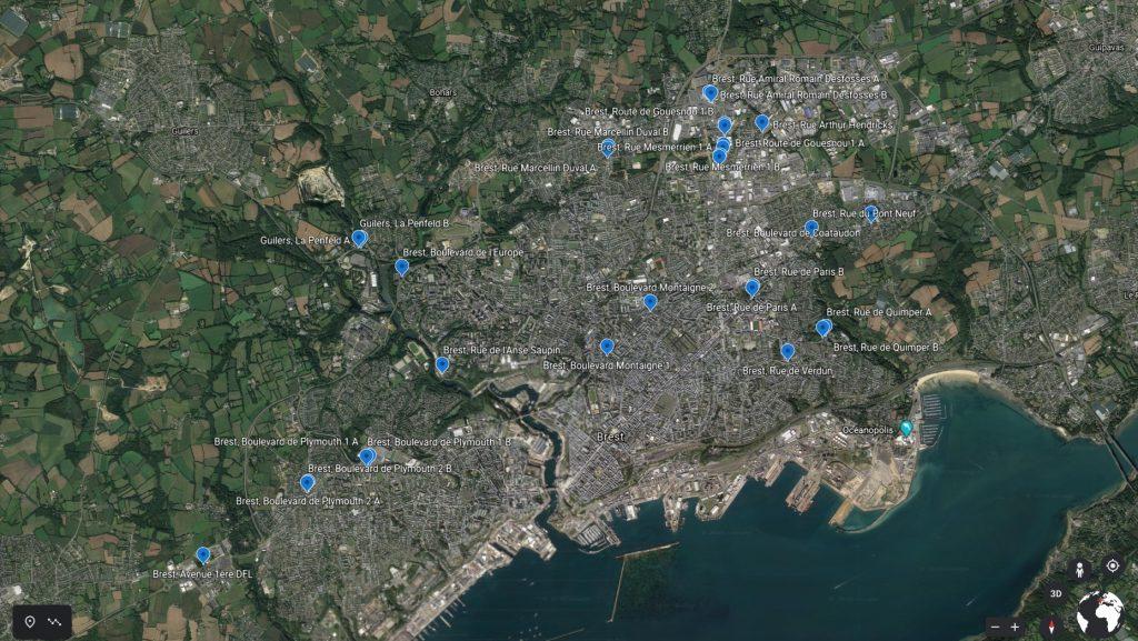 carte aérienne réseau brestois - PAP